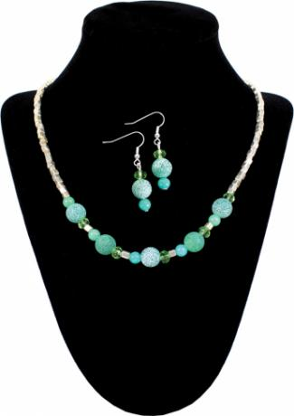 Teal Crackle Necklace & Earrings