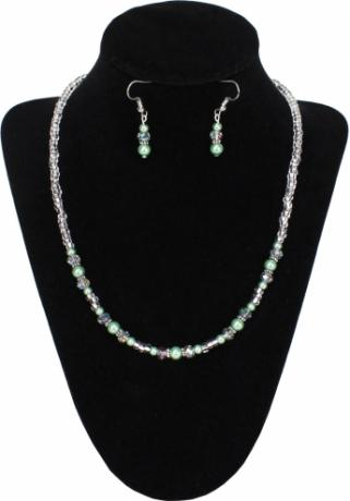 Sage Shine Necklace & Earrings