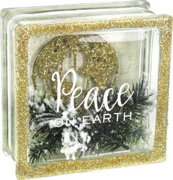Peace on Earth Glass Block