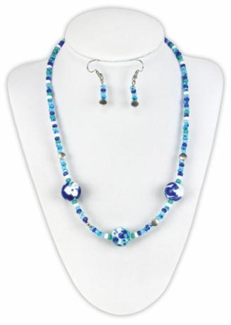 Blue Splatter Necklace and Earrings