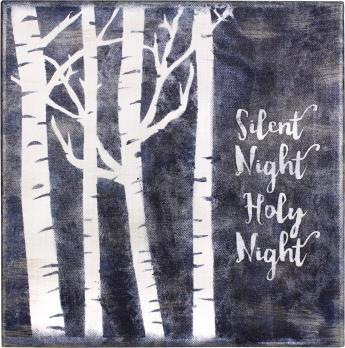 Silent Night Stenciled Canvas