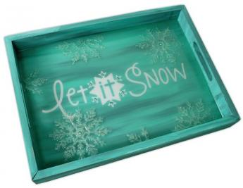 Let It Snow Wood Tray