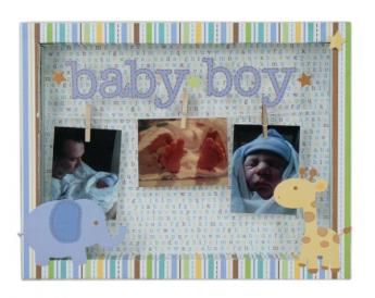 Baby Boy Clothespin Shadow Box
