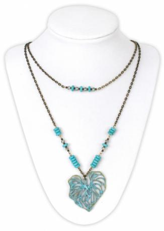 Turquoise Leaf Double Strand Necklace