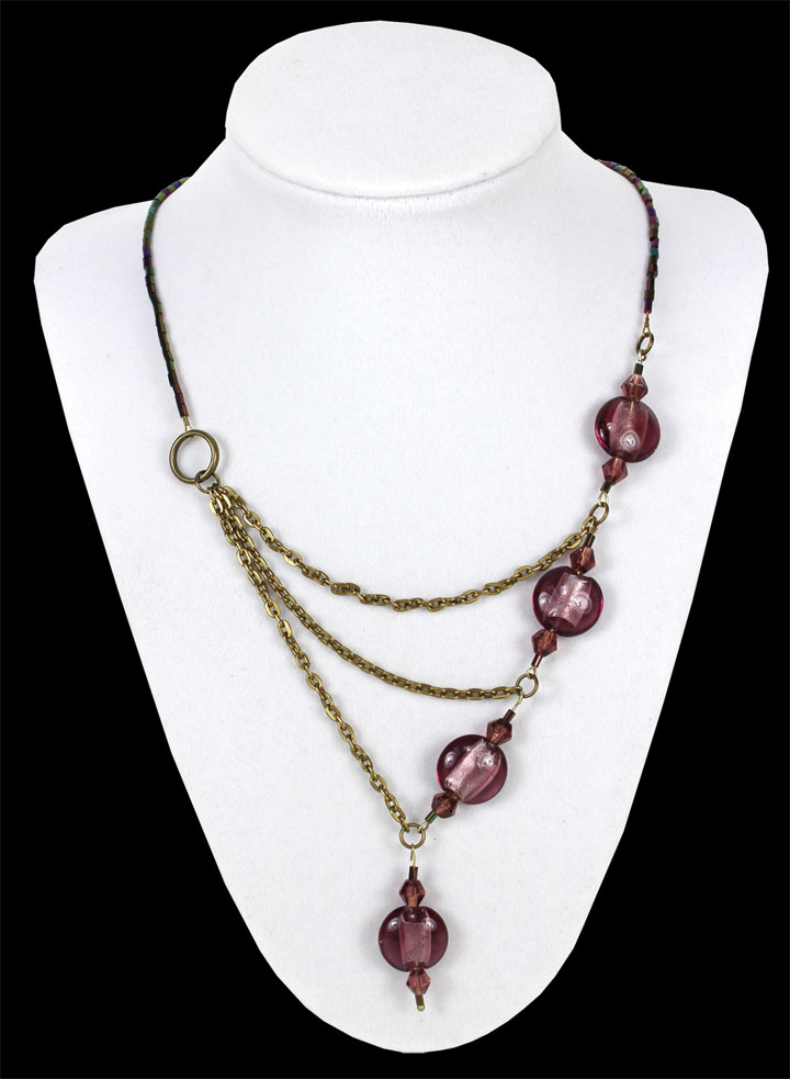 Purple Amp Bronze Asymmetrical Chain Necklace Crafts Direct