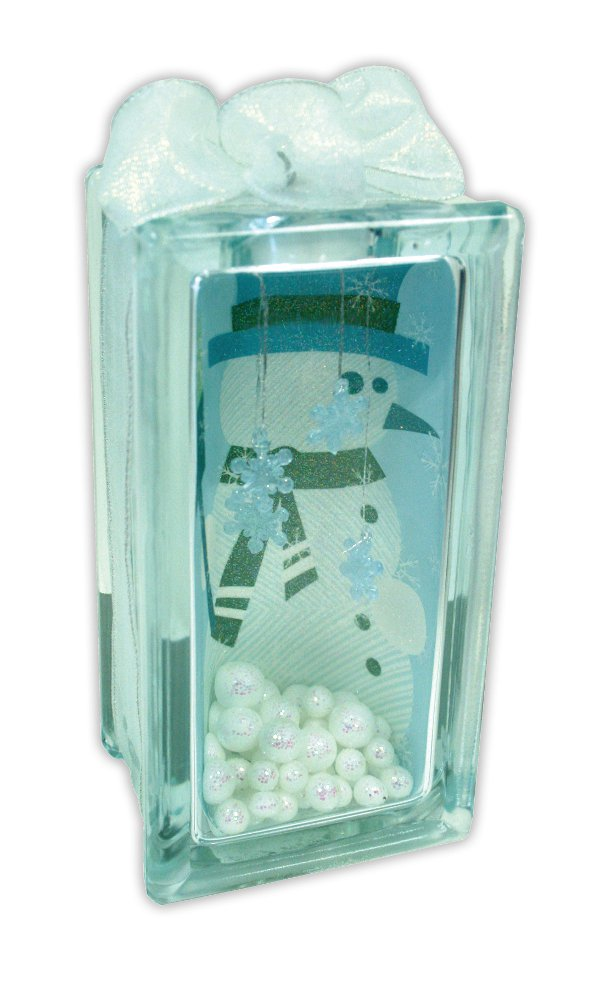 Blue Snowman Glass Block Crafts Direct