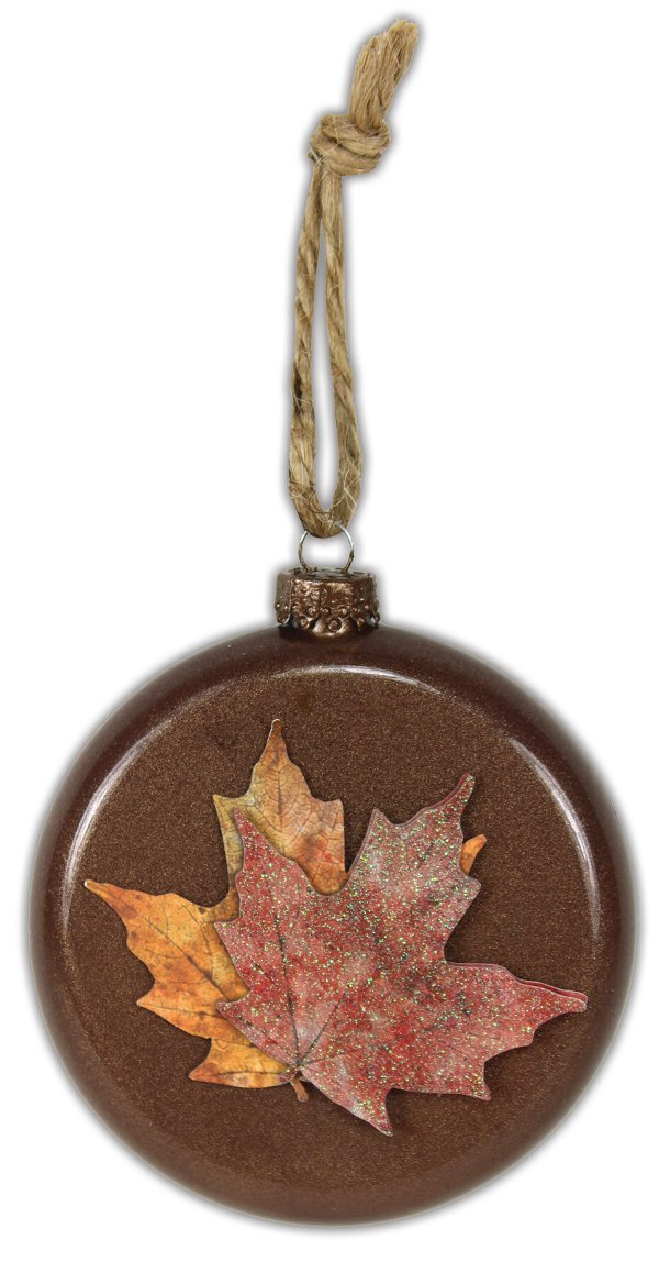 Fall leaves disc ornament crafts direct for Glass discs for crafts