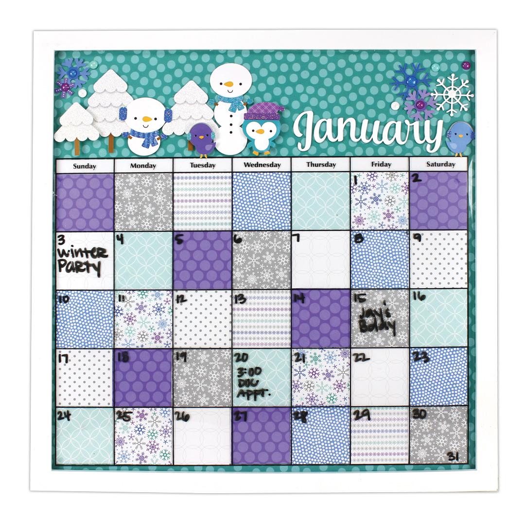 frosty friends framed calendar