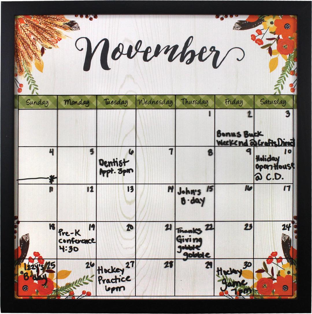 November Dry Erase Calendar Frame   Crafts Direct