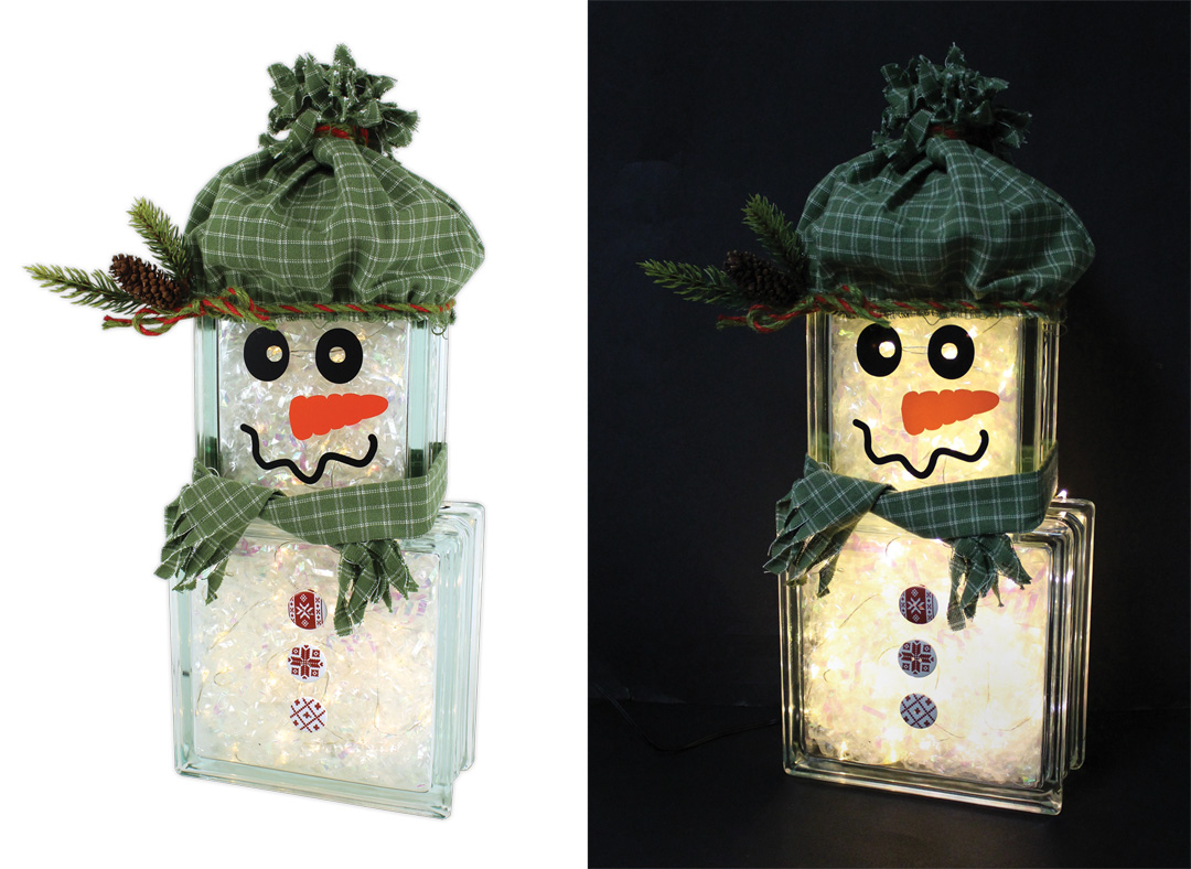 Snowman Double Glass Block Crafts Direct