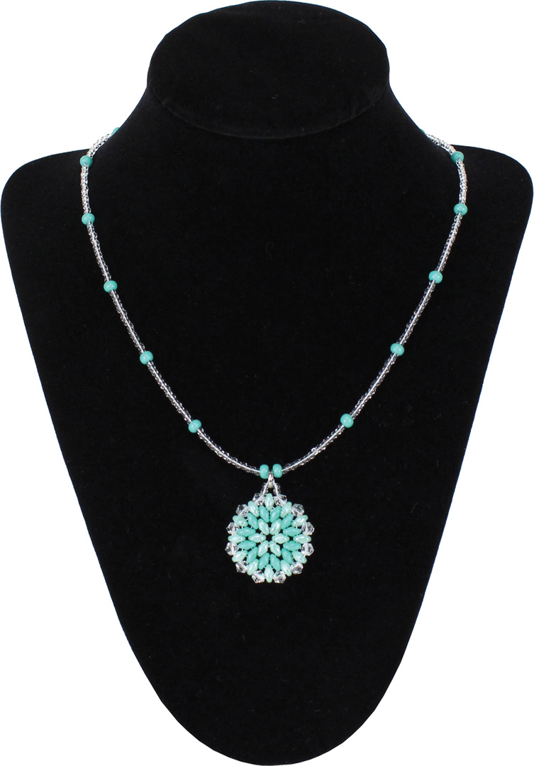 Turquoise Superduo Round Pendant Necklace Crafts Direct